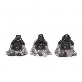 Set 3 mini Bouddha de la sagesse, Collection Silver, H 7 cm