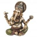 Statuette Ganesh en résine colorée, H 21 cm