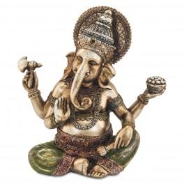 Statuette Ganesh en résine coloré, H 21 cm