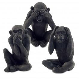 Set 3 singes de la sagesse, Version noire, H 19 cm