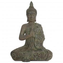 Statue Grand Bouddha en résine, Patine verte H 66 cm