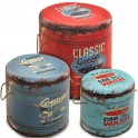 Set 3 tabourets coffre vintage GARAGE & CARS, Diam 40 cm (gd)