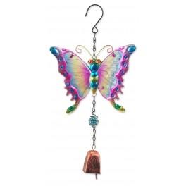 Suspension Cloche Papillon Arc En Ciel Bleu Rose H 38 Cm