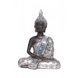 Mini Bouddha Silver Mod 3, H 13 cm