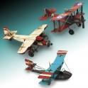 Miniature Avion Biplan en métal Rouge, L 33 cm