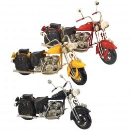 Moto routière vintage, Jaune L 19 cm
