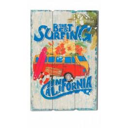 Déco vintage Beach : Combi Best surfing rouge, H 60 cm