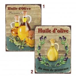 Plaque métal : Huile d'Olive, Modèle 1 flacon, H 33 cm