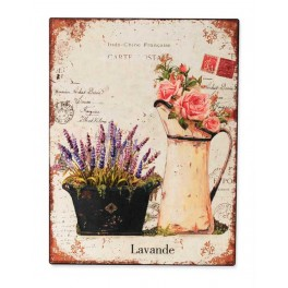 Plaque Métal : Lavande & Pichet, Mod 2, H 33 cm