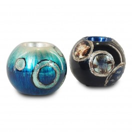 Bougeoir en céramique 2, Stella Blue Diam 9 cm
