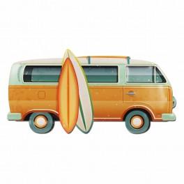 Plaque métal 3D : Le Combi Surf Jaune, L 59 cm