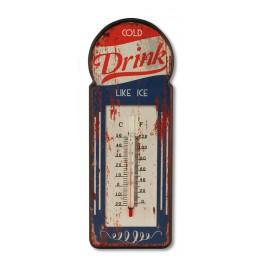 Thermomètre Intérieur/Extérieur : Modèle vintage DRINK, H 29 cm