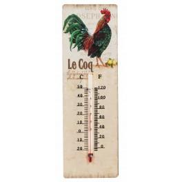 Thermomètre intérieur : Coq Plumes vertes, H 25 cm