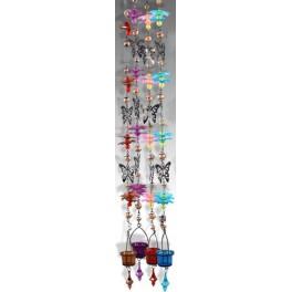 Suspension verre & métal bleu, Papillon, H 110 cm