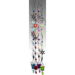 Suspension verre & métal Vert, Soleil, H 110 cm