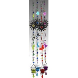 Suspension verre & métal rouge, Libellule, H 110 cm