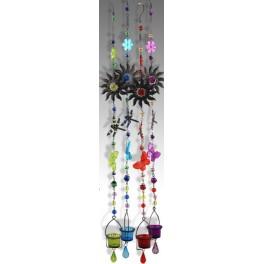Suspension verre & métal violet, Libellule, H 110 cm