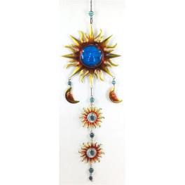 Suspension Soleil Verre & Métal, Bleu, H 95 cm