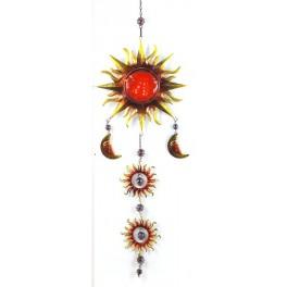 Suspension Soleil Verre & Métal, Rouge, H 95 cm