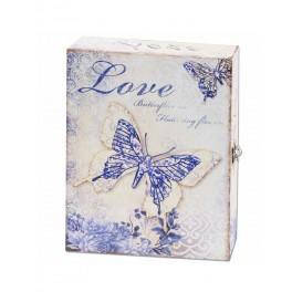 Boite à Clés : Modèle Papillon romantique, Bleu, H 30 cm