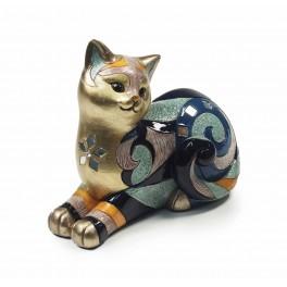 Statuette Chat Couché, Collection Blue Saphir, Mod 1, L 16 cm