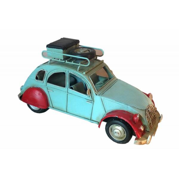 voiture 2 cv bleu et rouge  l 26 cm