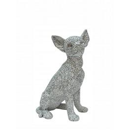 Le chihuahua assis Design, Collection Perles de strass Argent, H 26 cm