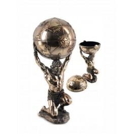 Statuette homme : Atlas et le Globe Terrestre, H 31 cm