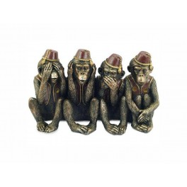 Statuette Singes de la sagesse par 4 en résine, L 24 cm