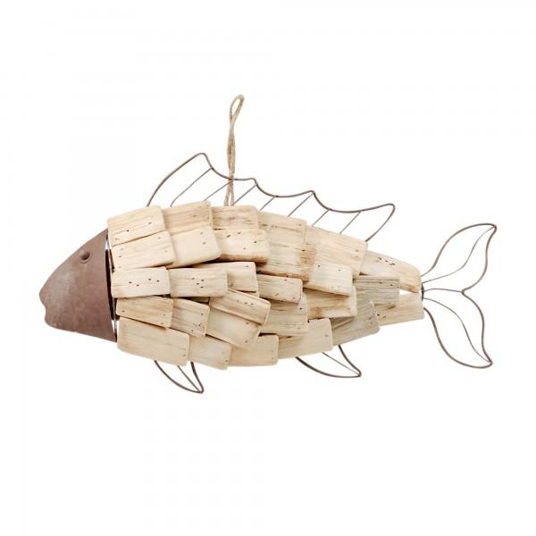 d co murale marine poisson en blois flott et m tal. Black Bedroom Furniture Sets. Home Design Ideas