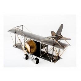 Grand avion biplan métal, modèle Rétro, L 38 cm