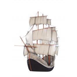 Déco murale métal Bateau : Le vieux galion à voile 3 mâts, H 80 cm