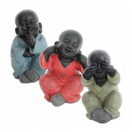 Statuette XXL : Les 3 moines de la sagesse assis, Color Line, H 35 cm