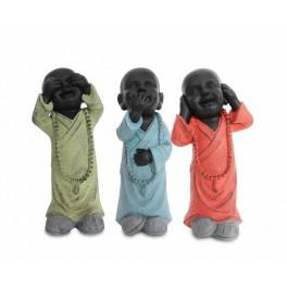 Statuette XXL : Les 3 moines de la sagesse debout, Color Line, H 46 cm