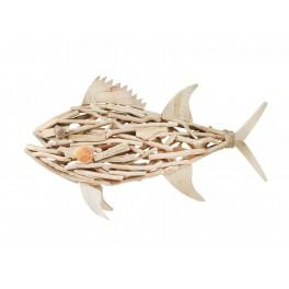 d co murale poisson taille xl en bois flott. Black Bedroom Furniture Sets. Home Design Ideas