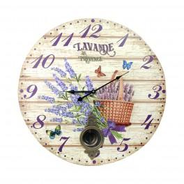 Grande Horloge MDF : Lavande de Provence, Diam 58 cm
