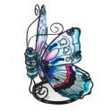 Le photophore papillon en verre coloré, modèle bleu