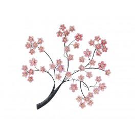 Décoration murale métal : le cerisier en fleur, H 94 cm