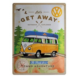 Plaque 3D Métal Combi VW : Get away Camp adventure, 40 x 30 cm