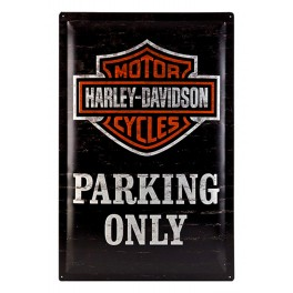 Plaque 3D Métal XL Harley Davidson : Parking Only, 60 x 40 cm