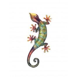 Gecko mural en métal : Collection Jungle, H 27 cm