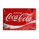 Plaque métal 20 x 30 cm officielle : Coca-Cola sur fond rouge