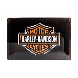 Plaque 3D métal 20x30 cm : logo Harley Davidson Motor cycles noire