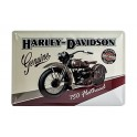 Plaque 3D métal 20x30 cm : Harley Davidson avec moto et logo