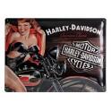 Plaque 3D Métal XL Harley Davidson : Pin-up American Classic, 40 x 30 cm