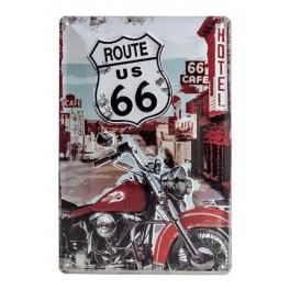 Plaque 3D métal 20x30 cm: Route 66 avec moto rouge 20X30 cm