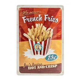 Plaque métal 3D 20x30 cm sous licence: French fries