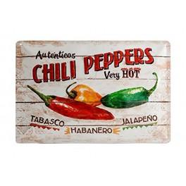 Plaque métal 3D 20x30 cm sous licence: Autenticos Chili Peppers