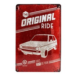Plaque 3D métal 20x30 cm Golf Volkswagen : The original Ride