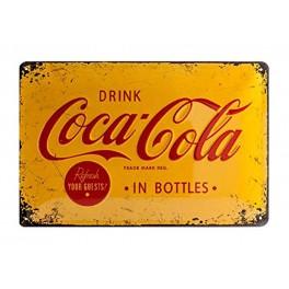 Plaque métal 20 x 30 cm officielle : Coca-Cola sur fond jaune